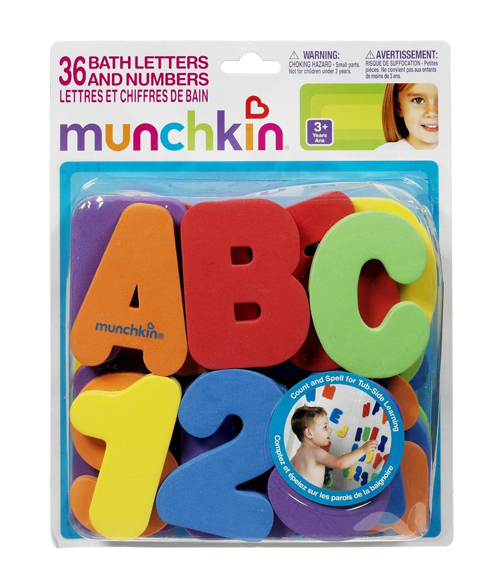 Munchkin 36-Piece Bath Letters & Numbers Set - colors as shown, one size