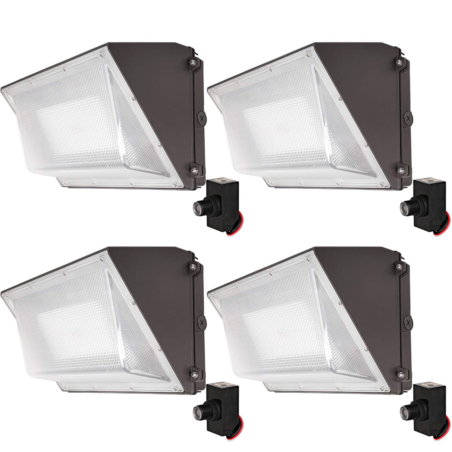 Hykolity High-Output LED Wall Pack with Photocell,120W 15000lm [Brighter Than 400W MH] Dusk to Dawn Outdoor Commercial LED Area Light,1-10V Dimmable,5000K Daylight, DLC Complied - 4 Pack