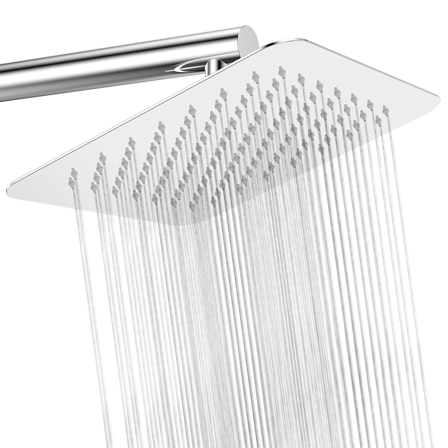 Rainfall Shower System 10 Inch High Pressure Square Shower Head,Chrome,Easy Tool Free Installation