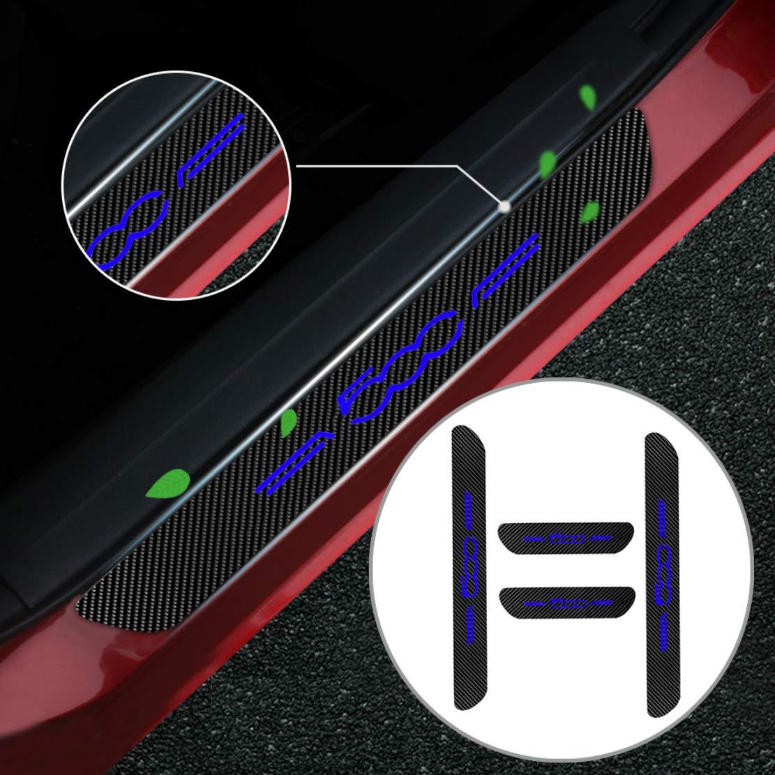 Per 500 Carbon Fiber Door Sill Scuff Pedal Proteggi Car Styling Sticker soglia di copertura 4 pezzi blu