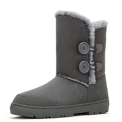 CLPP LI women snow boots Button Fully Fur Lined Waterproof Winter Snow Boots -Grey 30fa307220