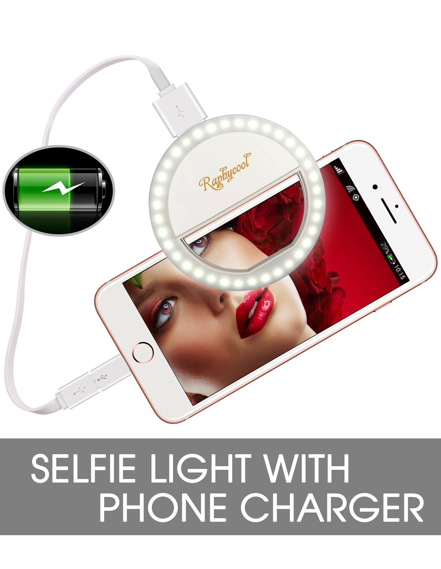 Raphycool Selfie Light Rechargeable, Selfie Ring Light for iPhone, Ring Light for Phone, 1500Mah Power Bank 36 Led Light Clip on iPhone Samsung Galaxy iPad Photography Camera,White