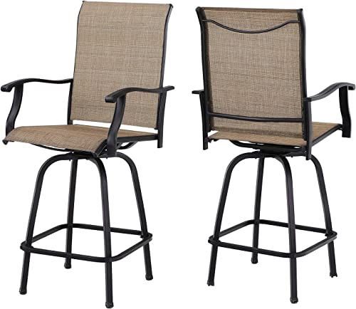 Sophia William Outdoor Bar Stool Set of 2 Patio Swivel Bar Chair Breathable Textilene for Bistro Lawn All Weather Furniture Set, Brown
