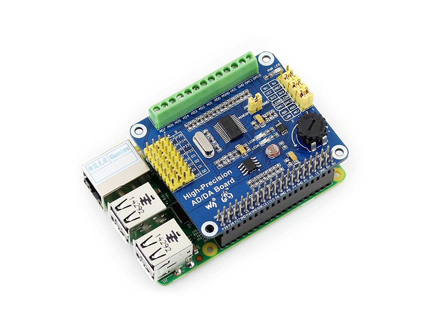 Waveshare Raspberry Pi AD/DA Expansion Sheild Board for Adding High-Precision AD/DA Functions to Raspberry Pi Onboard ADS1256 DAC8552 Sensor Interface: ...