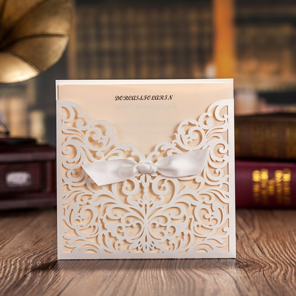 Wishmade 120 Pieces Laser Cut Wedding Invitations Invites With Bowknot Card Stock For Engagement Party Birthday Baby Shower Bridal Shower CW5002