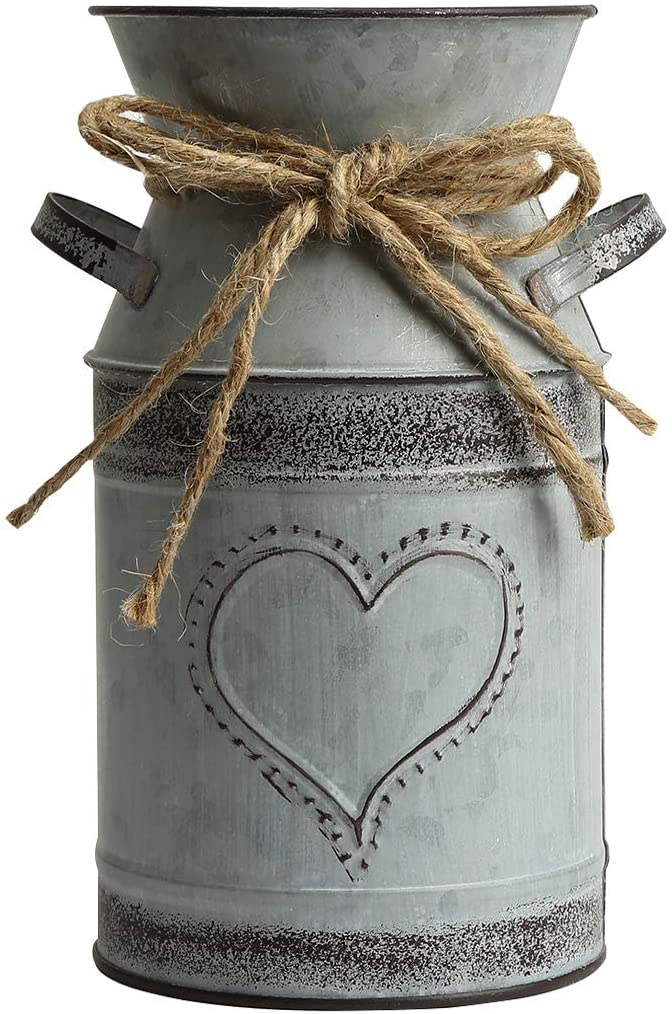 VANCORE Shabby Chic Milk Can Galvanized Vase Metal Jug French Rustic Bucket Farmhouse Decor