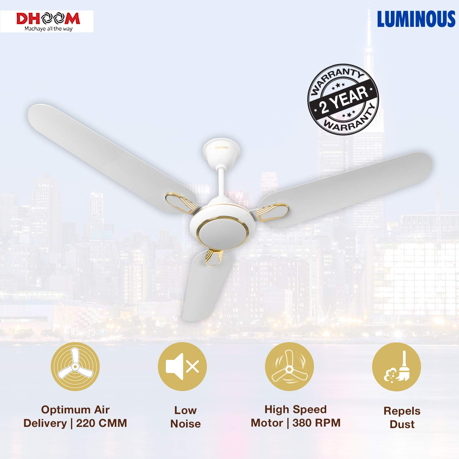 Luminous Dhoom 1200mm 70-Watt High Speed Ceiling Fan (White)