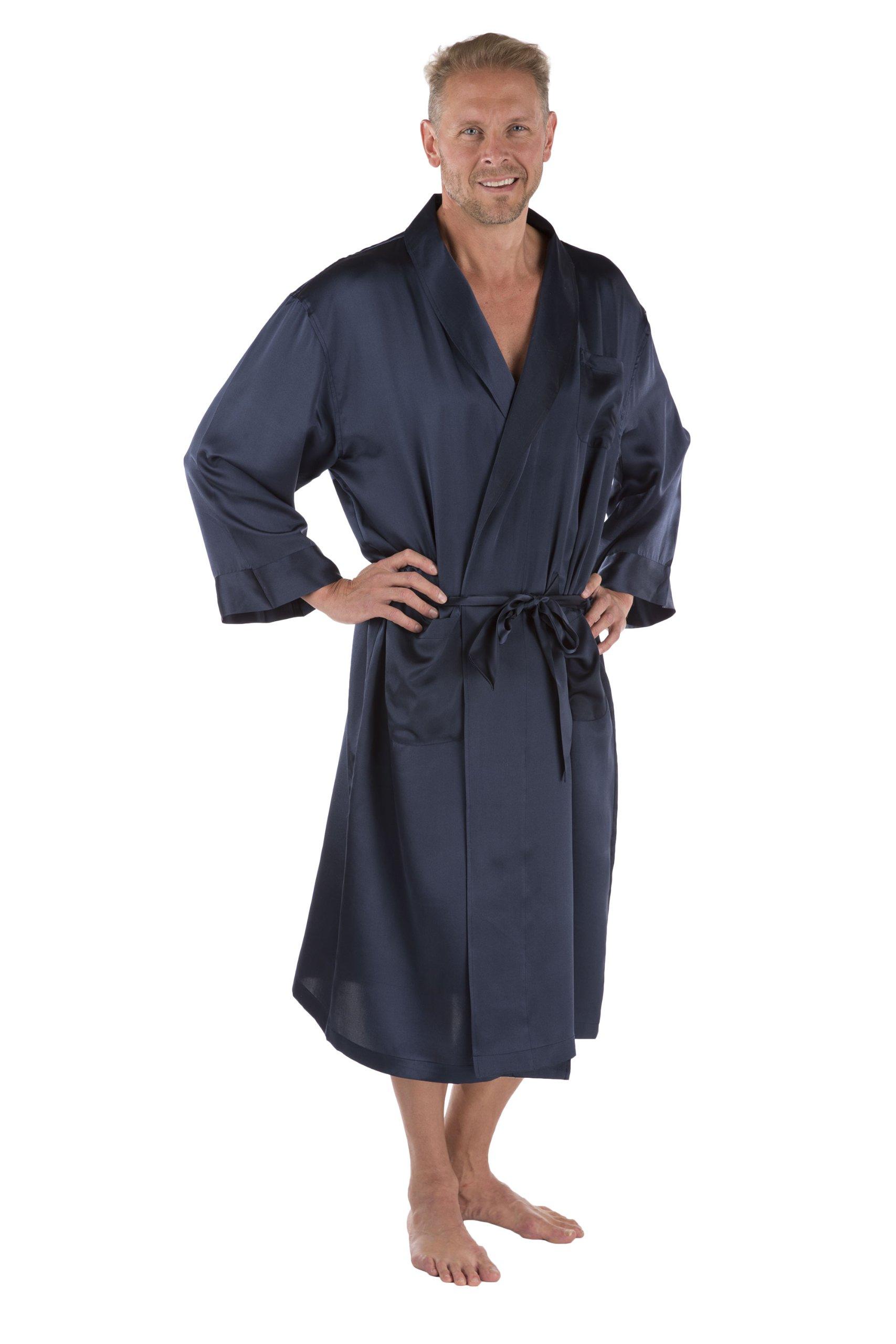 Texeresilk Men's Silk Robe - Luxury Bathrobe for Men - Silk Bathrobe for Him (Midnight Blue, Large/X-Large)
