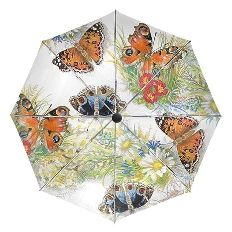 1add30601fb5 Amazon.com : baihuishop Watercolor Flowers Butterfly Windproof ...