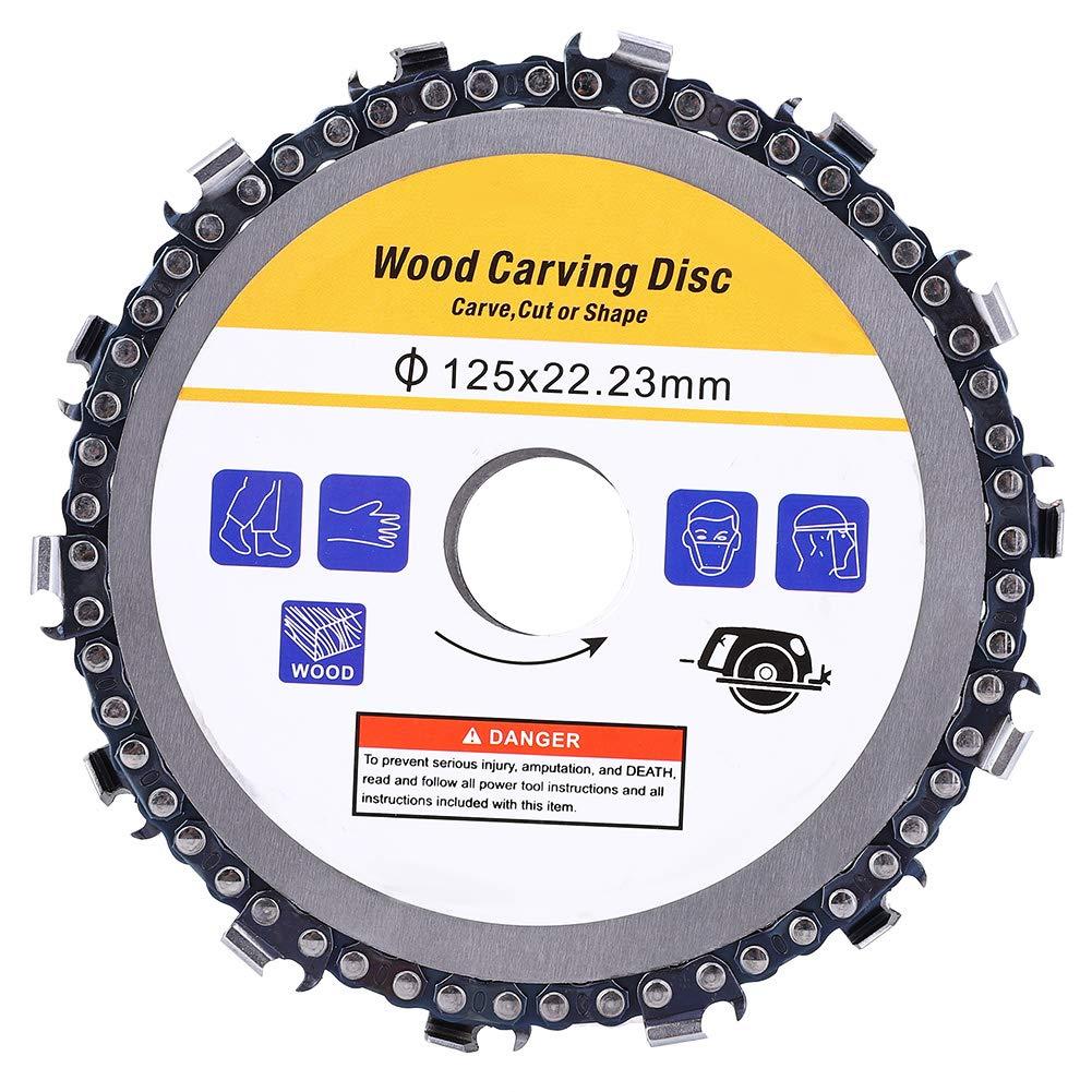 Cadena de disco de sierra, cadena de corte de disco de sierra de cadena de 5 pulgadas Accesorios de amoladora angular Piezas de hardware para hoja de sierra circular de plástico/madera para tallar, po