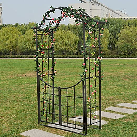XLOO Elegante Arco de jardín con portón, Enrejado de Marco de Acero de Metal Ancho y