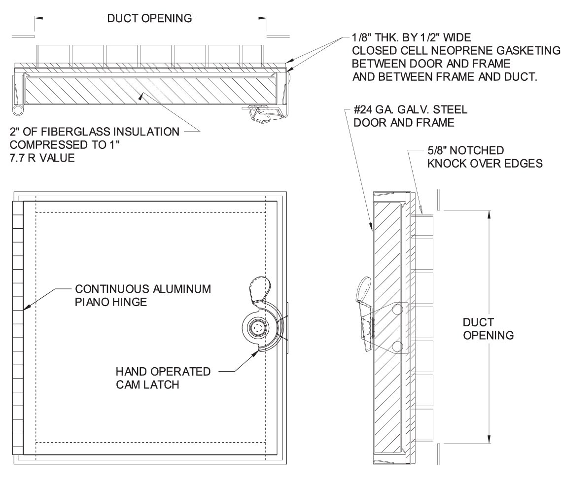 Acudor HD-5070 Duct Access Door 14 x 14 for Fiberglass Ducts