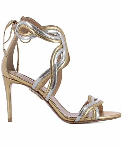 4d4bdbe59bda AQUAZZURA Damen MORMIDS1SPLBRA Gold Leder Sandalen. Qingchunhuangtang   Wasser bohren Blumen Spitzen Schuhe ...