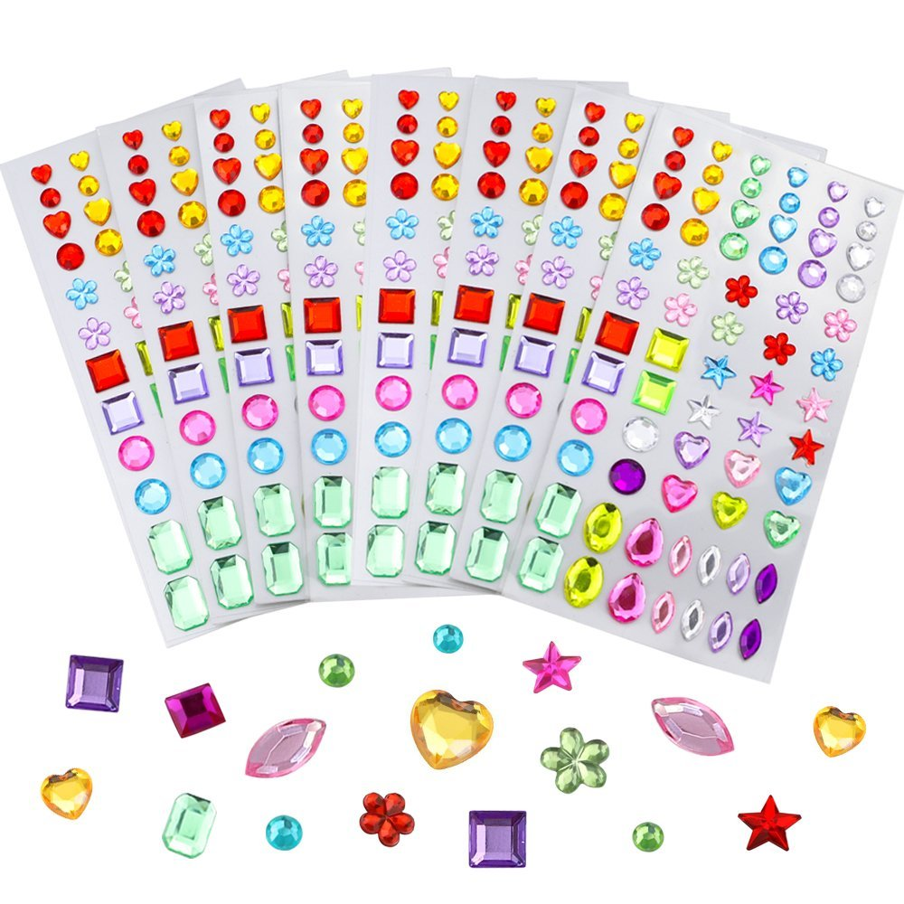 JPSOR 544Pcs Self-Adhesive Rhinestone Sticker Bling Craft Jewels Crystal Gem Stickers, Assorted Size, 8 Sheets
