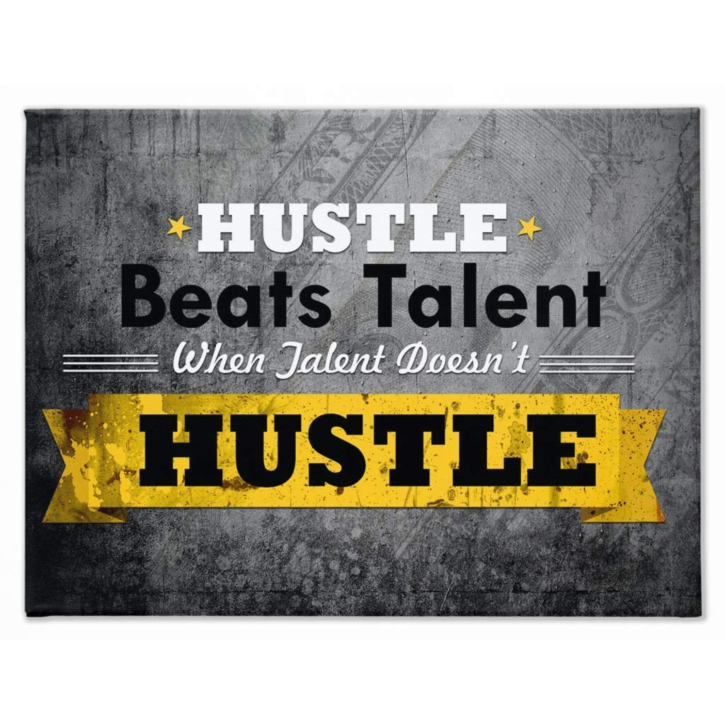 Hustle Beats Talent When Talent Doesn't Hustle: CanvasMafia Inspirational Canvas Wall Art for Office and Home Decor, Inspiring Motivational Canvas Art by Canvas Mafia