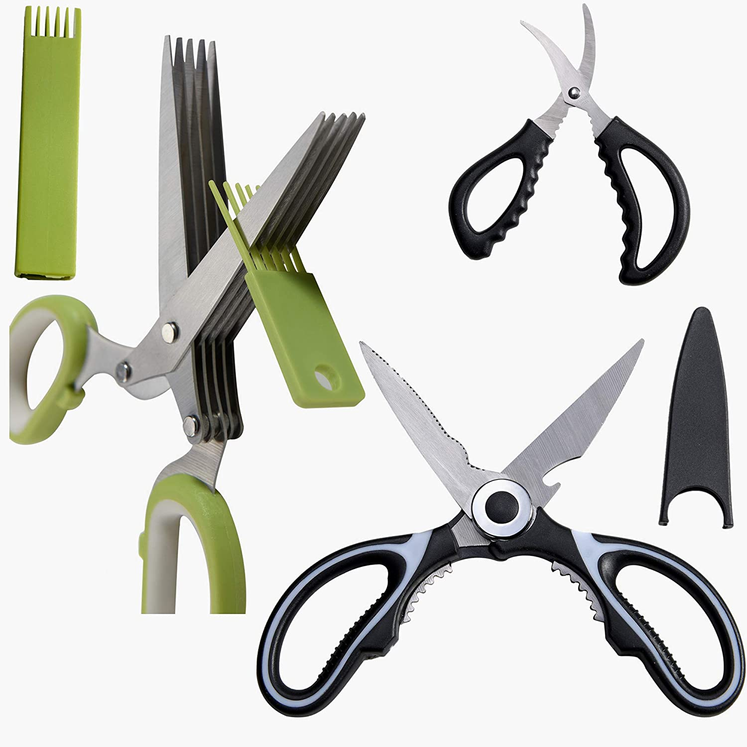 3 PCS Suit 5 Blade(Layer)Herb Scissors, Clever Food Cutter Scissors,Heavy Duty Kitchen Scissors For General Use