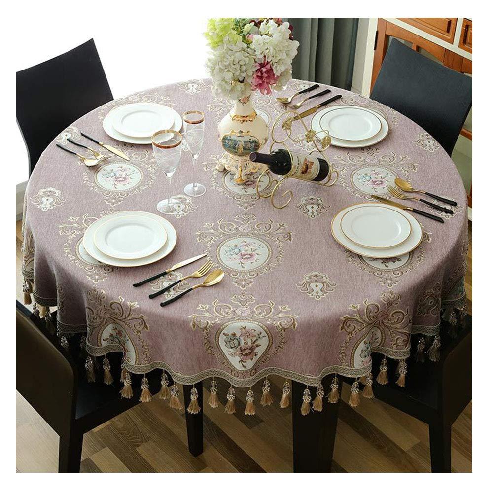 1.2m Table ronde Table Maison Table basse Table basse Table nappe rose avec une nappe à franges (taille   2.4m)
