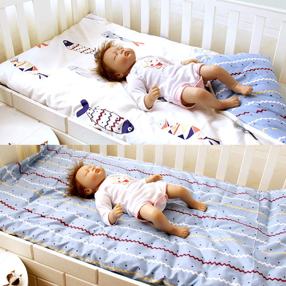 LWZY Baby Cotton Roll Up Sleeping Pad,Washable Detachable Toddler Nap Crib Bassinet Mat for Preschool Daycare Boys Girls-f 105x60cm(41x24inch) by LWZY