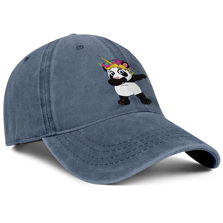 Unicorn Panda Bear Playing Unisex Baseball Cap Outdoor Running Hats Adjustable Trucker Caps Dad-Hat
