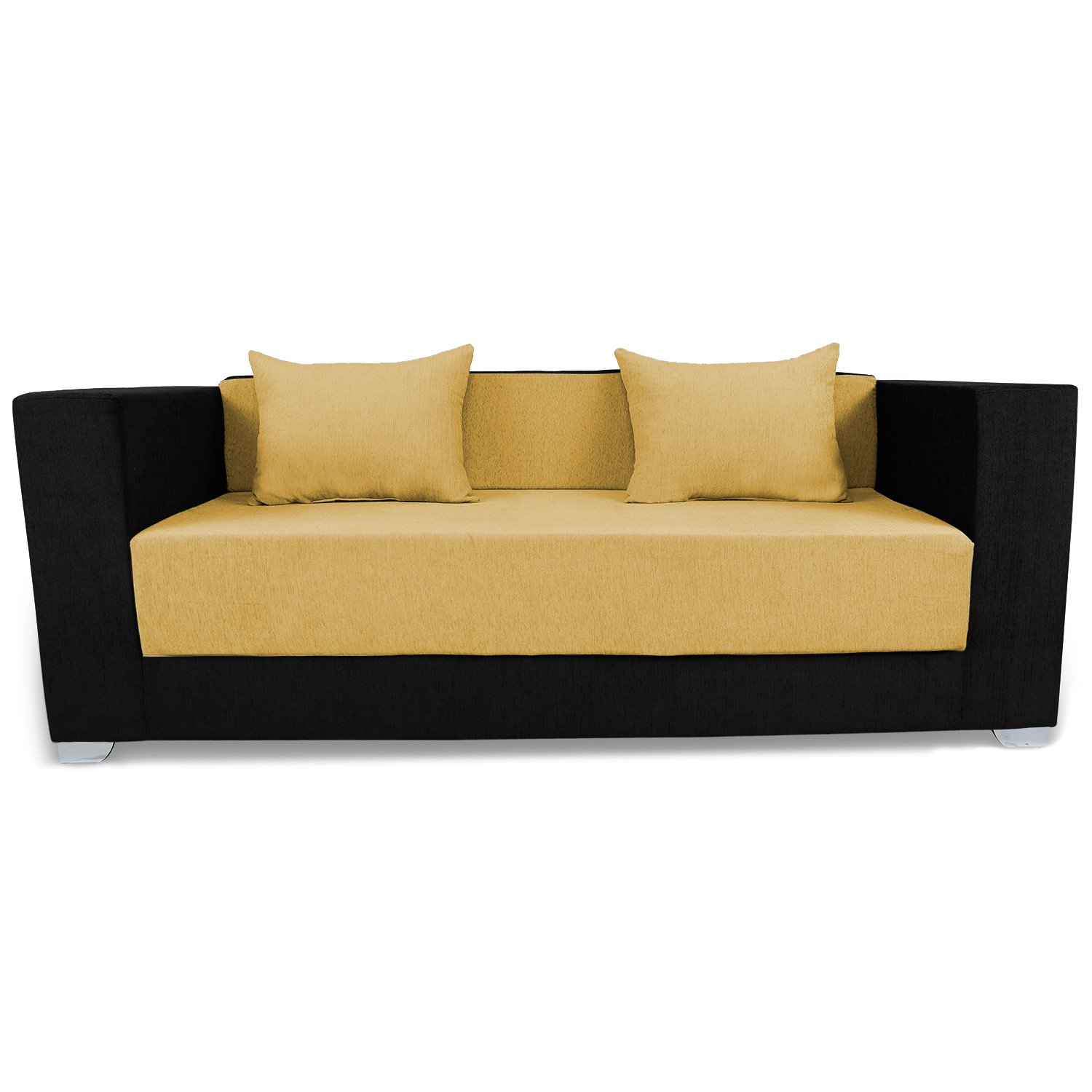 Adorn India Almond 3 Seater Sofa cumbed(Yellow & Black)