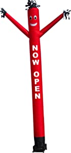 """""""NOW OPEN"""" Air Dancers Inflatable Tube Man Complete Set with 1 HP Sky Dancer Blower, 20-Feet, Red"""