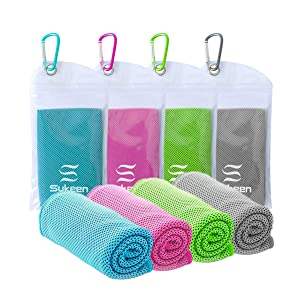 "Sukeen [4 Pack Cooling Towel (40""x12""),Ice Towel,Soft Breathable Chilly Towel,Microfiber Towel for Yoga,Sport,Running,Gym,Workout,Camping,Fitness,Workout & More Activities"