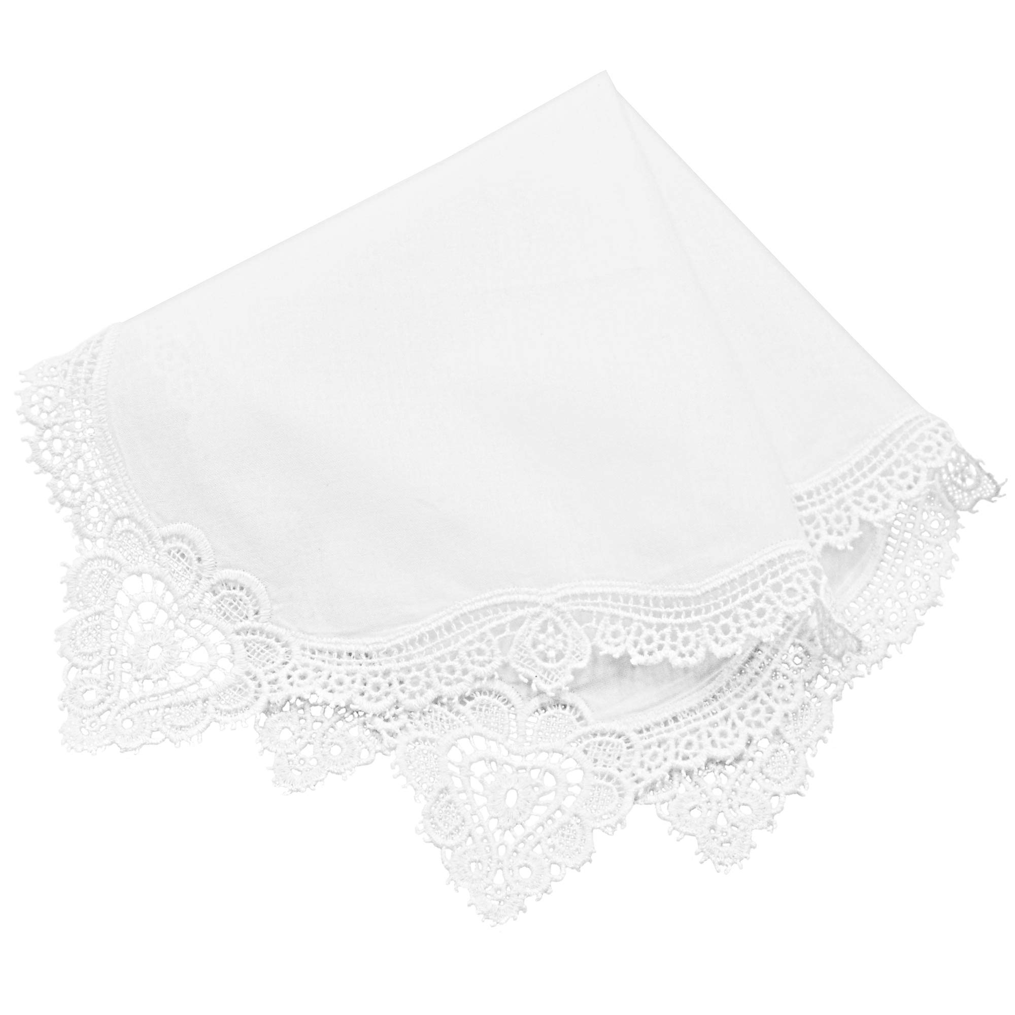 Milesky Bridal Wedding Crochet Lace Handkerchief Premium 60S Cotton CH09
