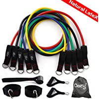 QOZY Latex Resistance Bands Set 11pcs | Workout Exercise Bands with Door Anchor, Handles | Stackable Up to 150lbs 68kgs | Muscle Training Tubes,Legs Ankle Straps, for Home Therapy,Fitness,Gym