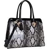 Dasein Patent Faux Leather with Snake Skin Detail Shoulder Bag