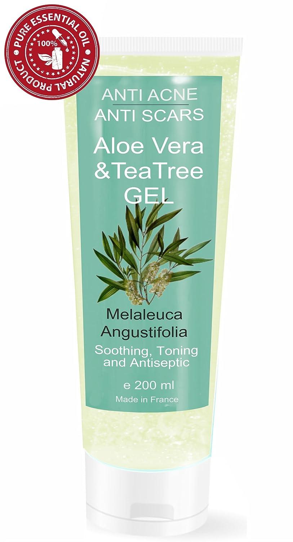 Gel de Aloe Vera con Árbol de Té 200 ml - S.O.S. Piel Seca y Dañada, Quemaduras - Unisex Hidratante y Purificante Made in France 3701076201533