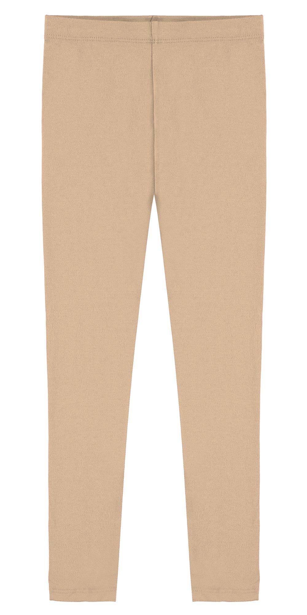 Popular Big Girl's Cotton Ankle Length Leggings - Khaki - 8