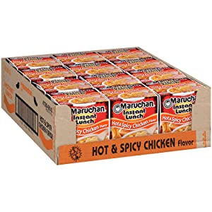 Hot & Spicy Chicken Flavor Maruchan Instant Lunch , 2.25 Oz, Pack of 12~Includes Toy Daze porte pot and carrier