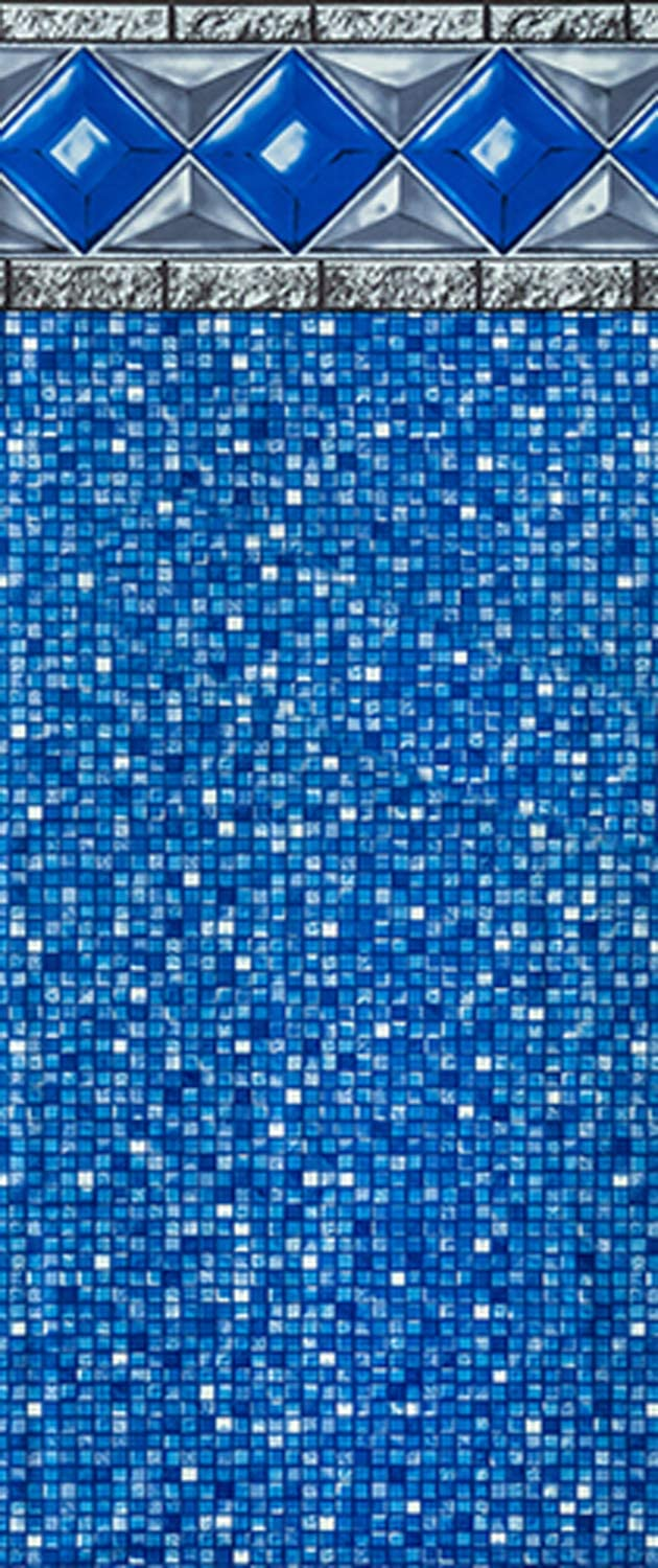 Smartline Crystal Tile 27-Foot Round Liner   UniBead Style   54-Inch Wall Height   25 Gauge Virgin Vinyl Material   Strong and Durable Liners   Designed for Steel Sided Above-Ground Swimming Pools