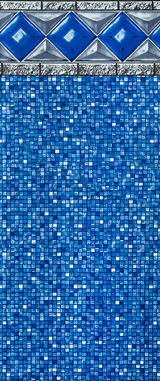 Smartline Crystal Tile 24-Foot Round Liner | UniBead Style | 54-Inch Wall Height | 25 Gauge Virgin Vinyl Material | Strong and Durable Liners | Designed for Steel Sided Above-Ground Swimming Pools by Smartline