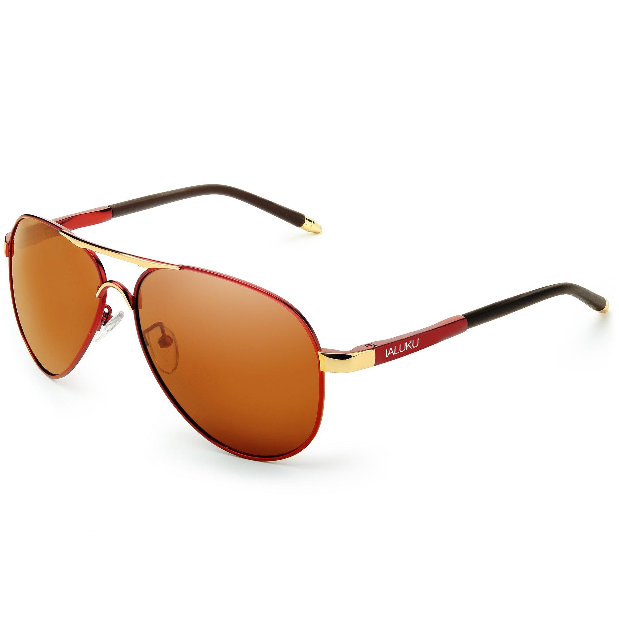 IALUKU Aviator Polarized Sunglasses Metal Frame Pilot Glasses Men Women (Brown / Brown, 58)