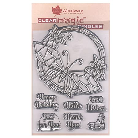 Woodware Clear Singles Rubber Stamp Mosaic Butterfly Round FRS634