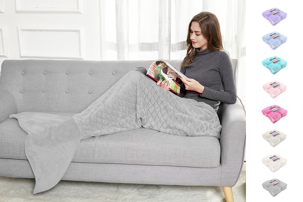 DecoKing Mermaid Tail Blanket 140 cm Fish Scale Pattern Extra Soft and Snuggle Microfibre Blanket Siren Cream