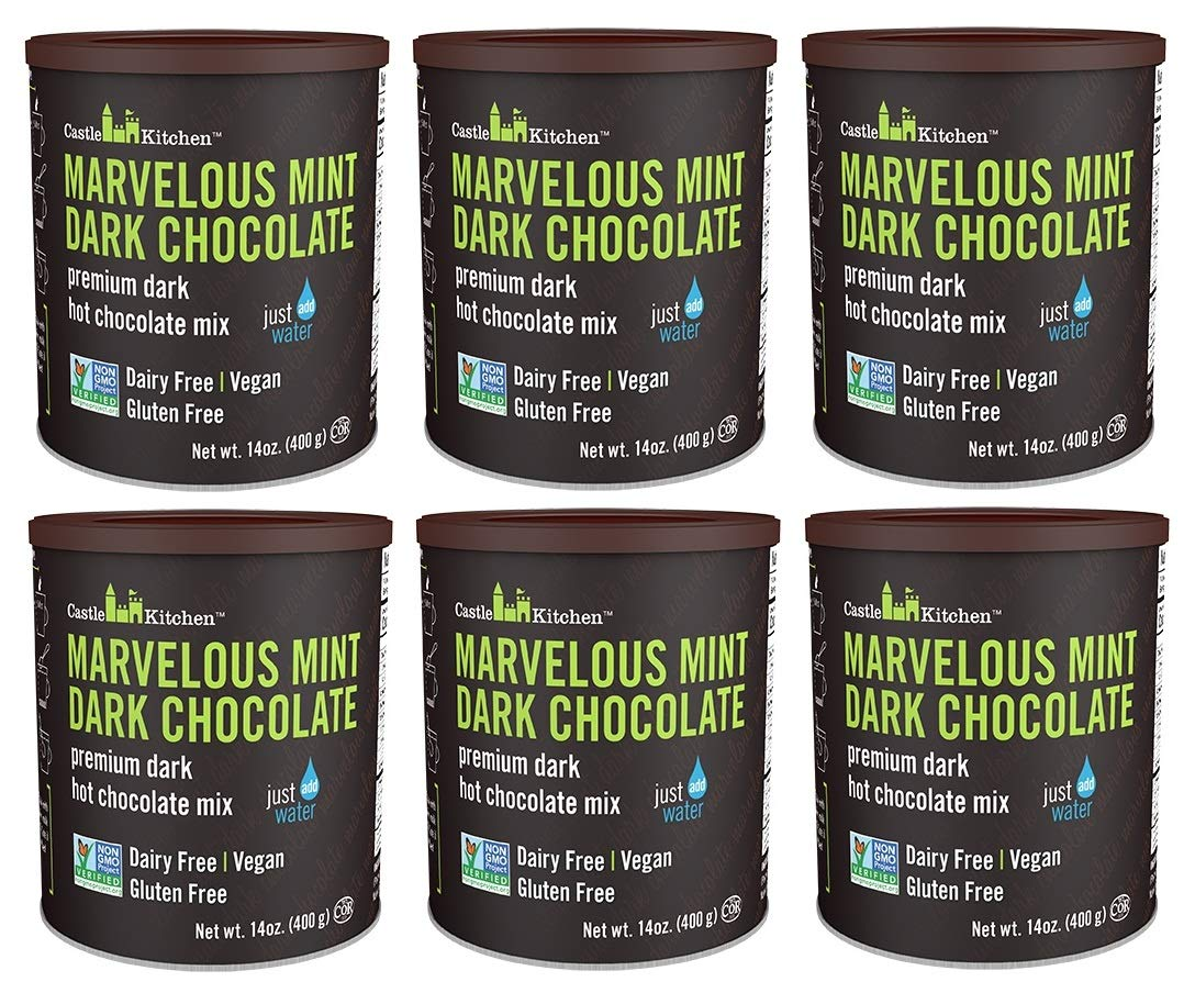 Castle Kitchen Marvelous Mint Dark Chocolate Premium Hot Cocoa Mix - Dairy-Free, Vegan, Plant Based, Gluten-Free, Non-GMO Project Verified, Kosher - Just Add Water - 14 oz (Pack of 6)