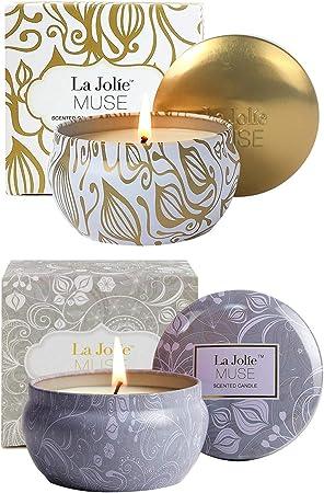 La Jolíe Muse Pack de 2 Velas perfumadas Cera de Soja Natural, Vainilla Coco & Loto Azul, aromaterapia Anti-estrés. Vela de Viaje 45x2 Horas: Amazon.es: Hogar