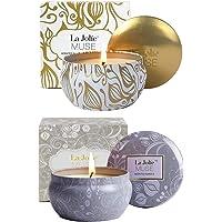 La Jolie Muse Bougie Parfumée Cadeau de Noël Vanille et Noix de Coco 100% Cire de soja Aromathérapie pour soulagement de Stress Boite de Voyage 45 Heures
