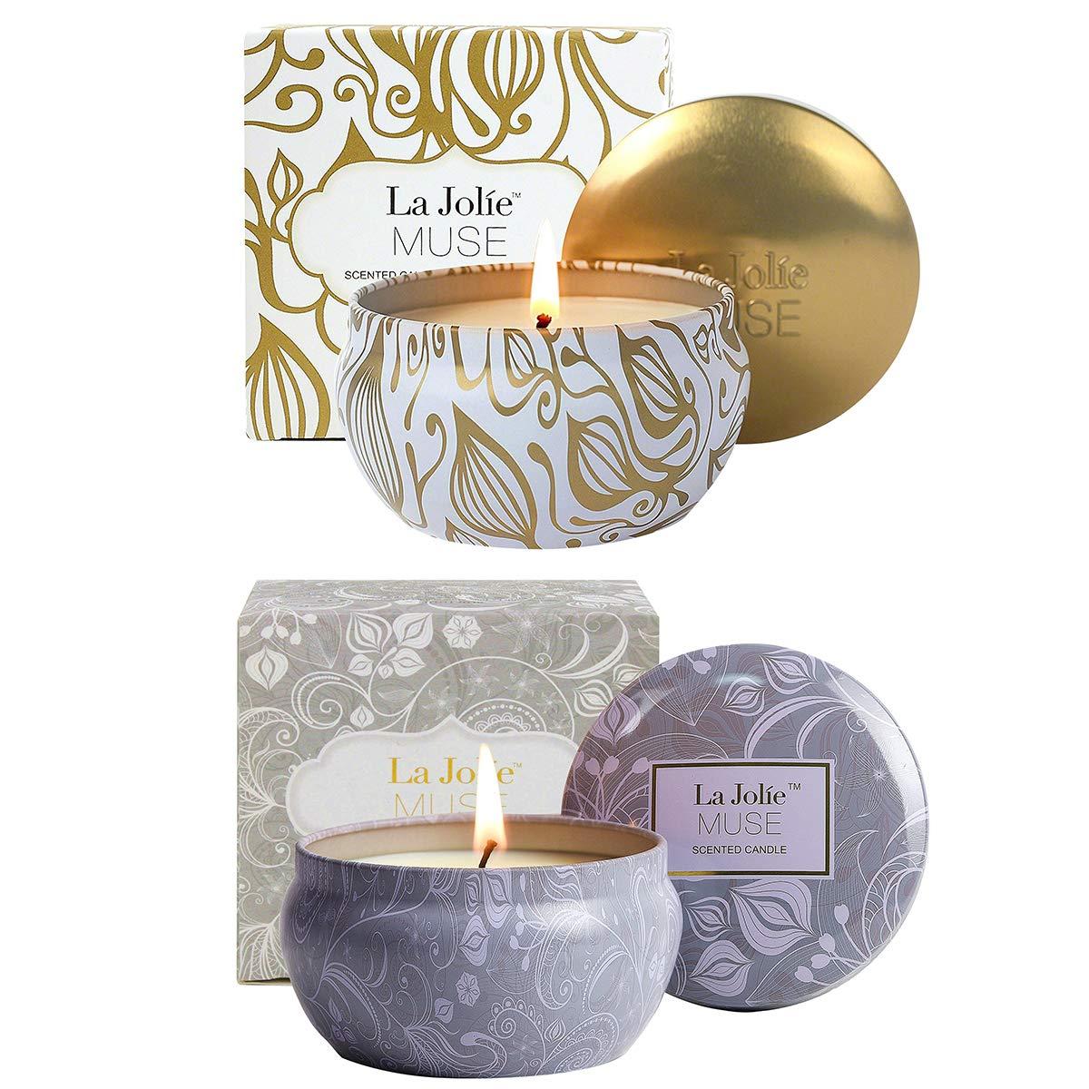 La Jolie Muse Bougie parfumé e Cire de soja Naturelle Lot de 2 Automne Hiver Collection Cadeau de Noë l Vacance Voyage de 55 Heures Aromathé rapie La Jolíe Muse