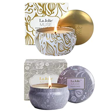 LA JOLIE MUSE Scented Candles Gift Set 2, Blue Lotus & Vanilla Coconut 13OZ, Aromatherapy Natural Soy Wax