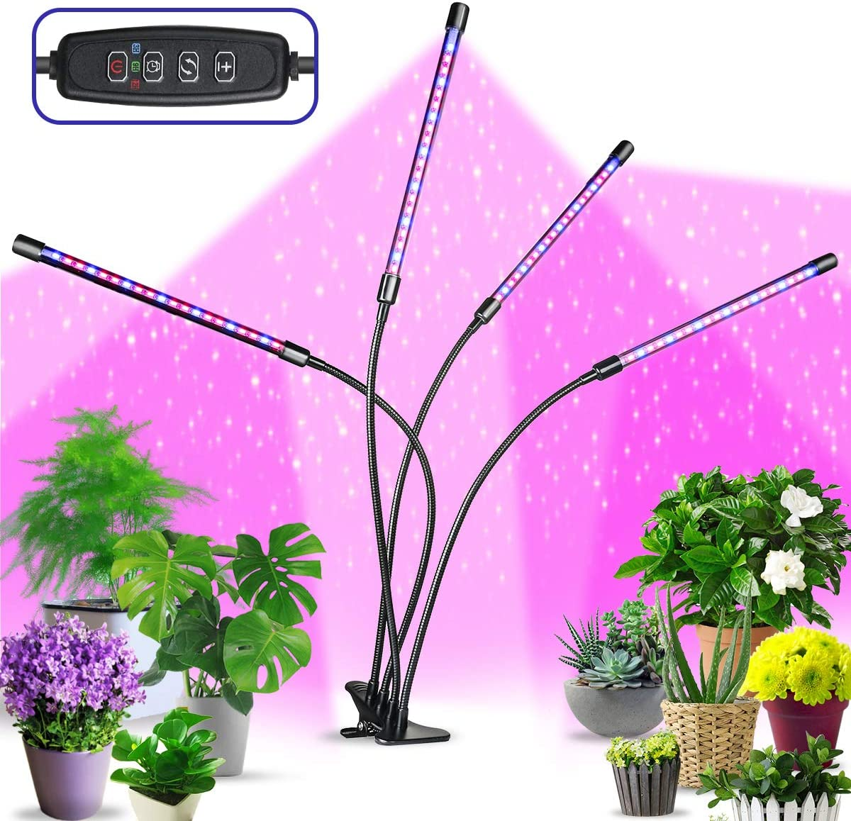 LED Grow Light for Indoor Plants, 4 Heads Goose-Neck Plant Light, Auto 3 9 12H Timer Plant Lighting, 9 Dimmable Brightness Full Spectrum Grow Lamp, 80LED 40W Grow Light for Indoor Plant Growth
