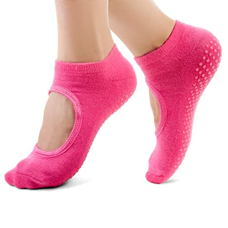LEOTER Non Slip Yoga Calcetines Women Cotton Barre Pilates ...