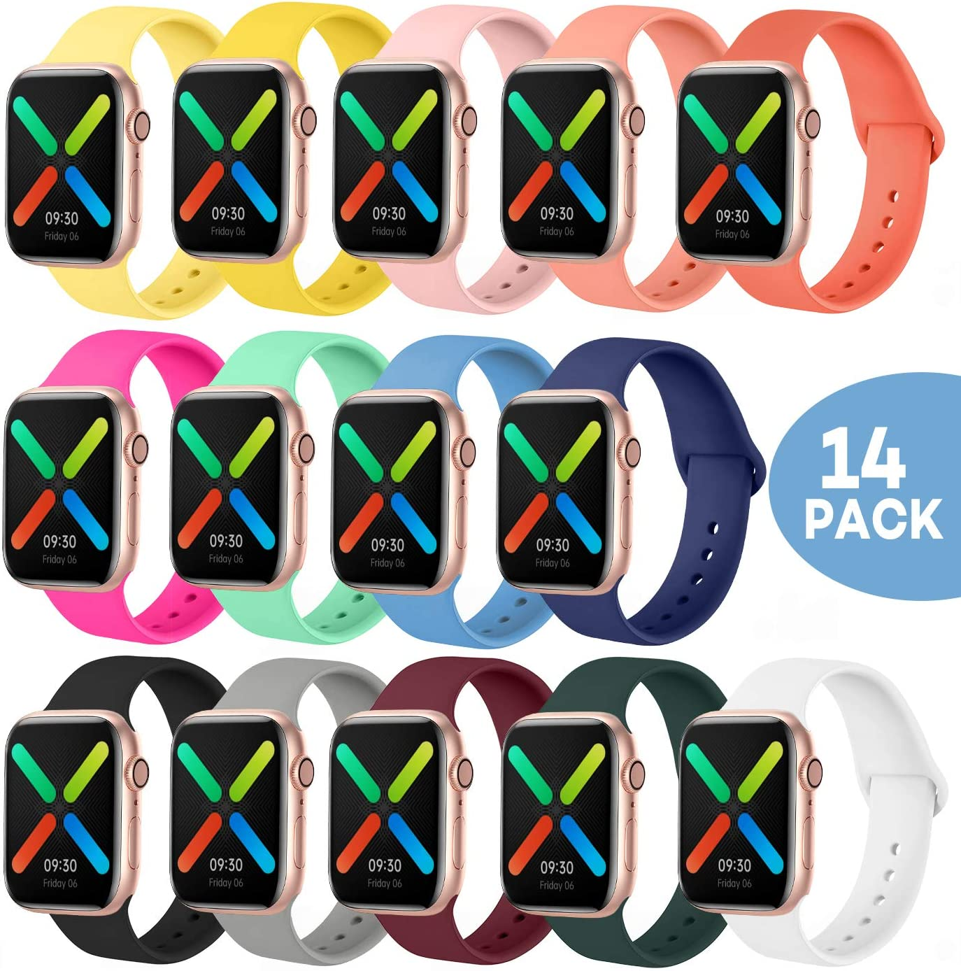 Smartwatch Bands Compatible with Apple Watch Band 40mm 38mm 44mm 42mm, SWHAS Soft Silicone Sport Band Replacement Wristband for iWatch Series 5/4/3/2/1