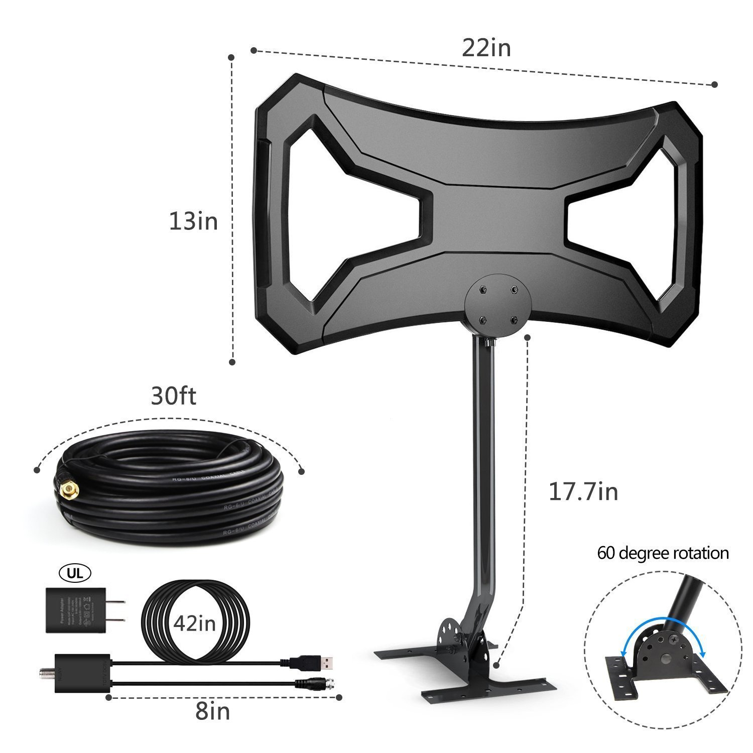 Efind 150 Miles Amplifier HDTV Antenna - Long Range TV Antenna Omni-Directional with Pole Mount for 4K FM/VHF/UHF Free Channels Digital Antenna 33ft RG-6 Copper Cable by efind (Image #5)