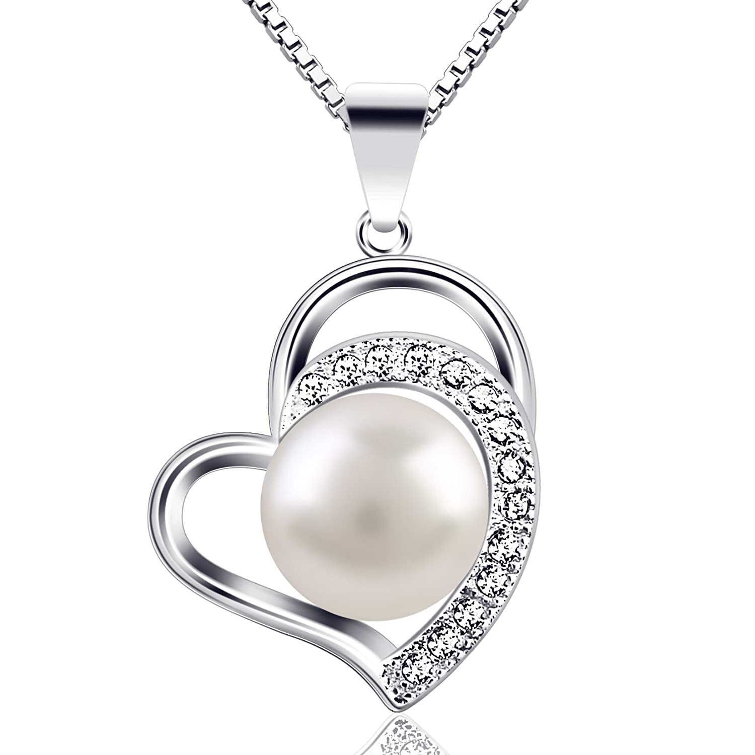 "B.Catcher ""Only Love You"" 925 Sterling Silver Pearl Necklaces Pendant Cultured Freshwater Pearl Necklace, 18'' 18'' BC-67"