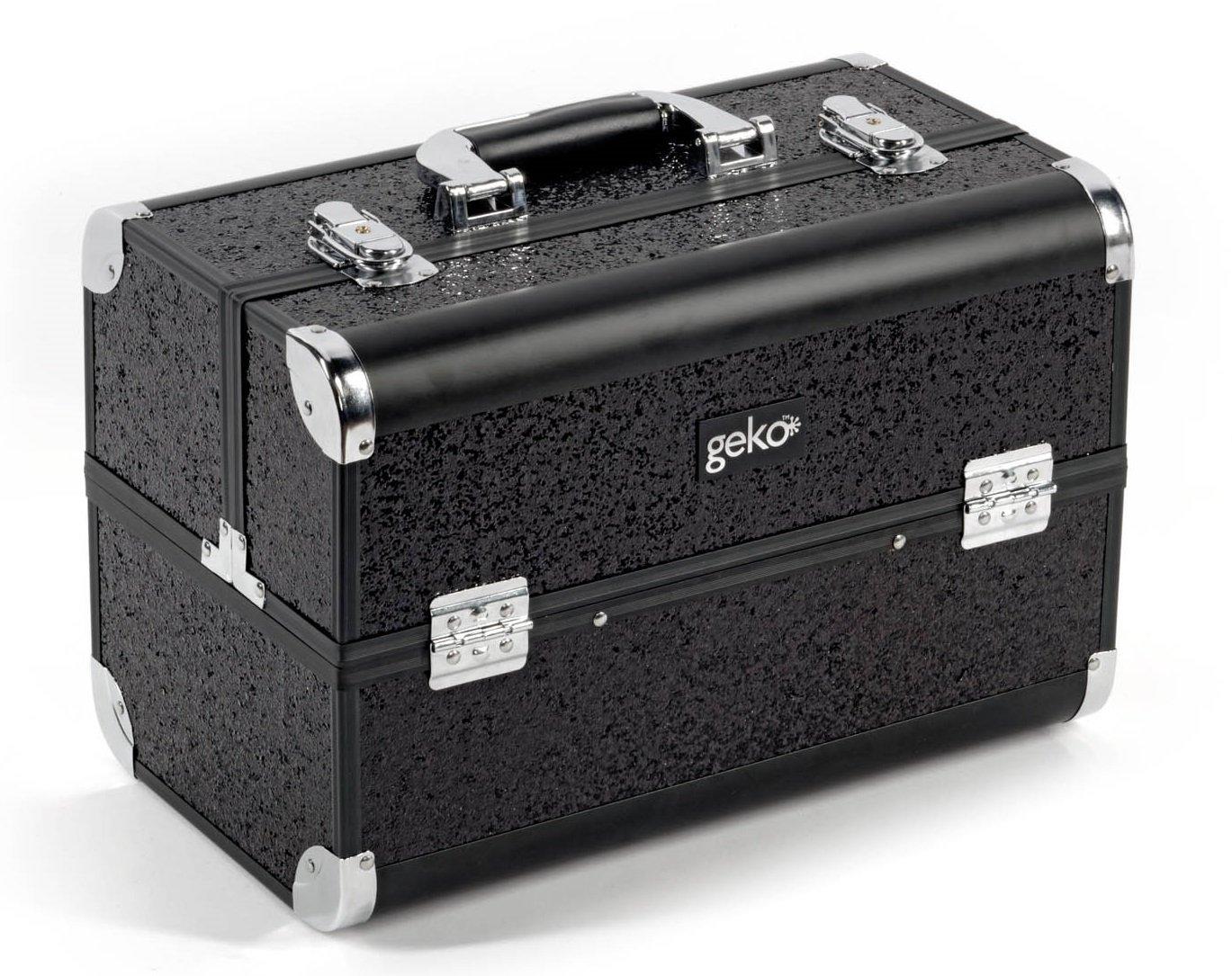 GEKO 1-Piece Vanity Case/Makeup Box, Black Glitter
