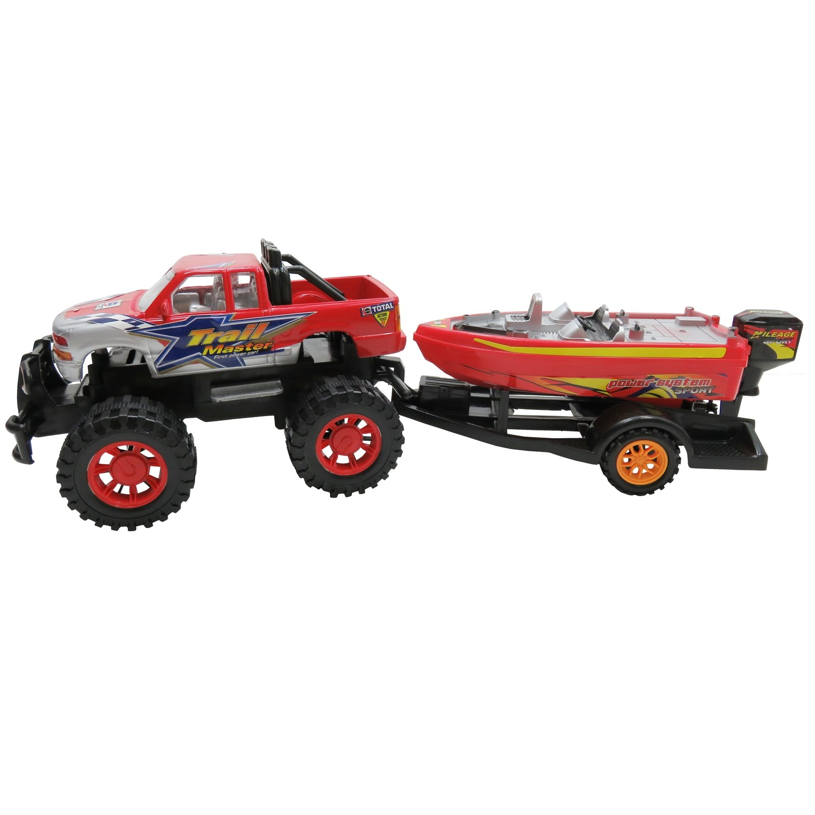 Speed Max King Friction Power Monster Truck Speed Boat Hauler Play Set by Kid Fun