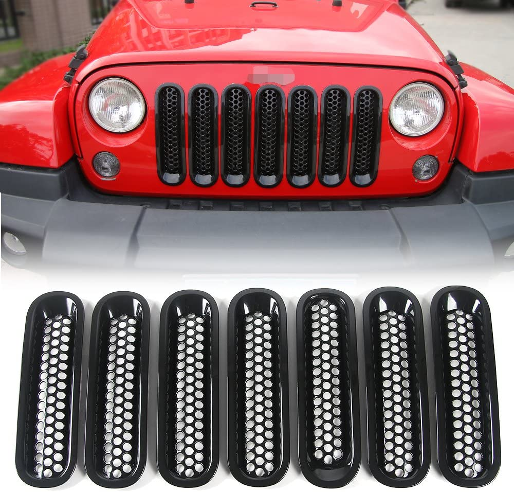 7PCS RT-TCZ Front Grill Mesh Grille Insert Kit Honeycomb 3D Design for Jeep Wrangler JK/&Rubicon Sahara /& Unlimited 2007-2017